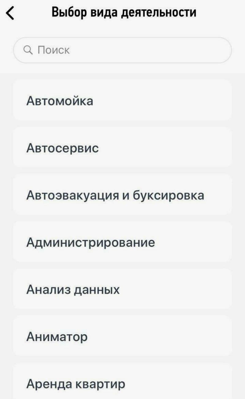 Выбор вида деятельности в приложении